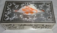 Saroj Creations 1 Compartments Oxidised Metal Metal Napkin Box (Silver)