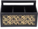 Aarav Designs Leather 3 Compartments Wood Pen Stand - Black