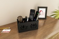 Home Sparkle 2 Compartments Engineered Wood Remote Cum Mobile Holder::Organizer (Black)