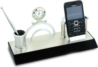 Transcends 1 Compartments MDF Pen Holder (Silver, Black)