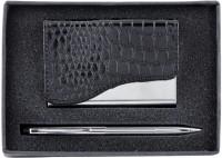 Power Plus 1 Compartments Metal Pen & Card Holder Set (Black)