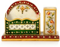 Jaipur Raga 1 Compartments Marble Visiting Card Holder (White)