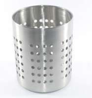 Clobber 1 Compartments Stainless Steel Cutlery Holder (Steel, Silver)