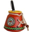 Unravel India Warli Painted 1 Compartments Terracotta Pen Stand - Red