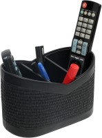 Belmun Jute Finish - Black 3 Compartments Hard Board Remote Control Holder (Black)
