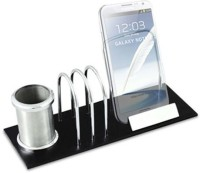 Magnuscadeaux BAS 3 Compartments Metal, Wood Desk Organizer (Silver, Black)