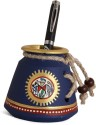 Unravel India Warli Painted 1 Compartments Terracotta Pen Stand - Blue