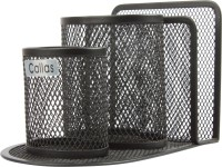 Callas 3 Compartments Metal Mesh Pen Stand (Black)