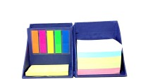 UNIQUE COLLECTIONS 3 Compartments Card Holder Pen Stand With Sticky Notes And Paper Weight (Blue)