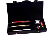 BORSE 4 Compartments ARTIFICIAL LEATHER PEN HOLDER (BLACK)