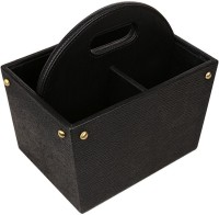 Belmun Metal Fittings 4 Compartments Faux Leather Storage Box (Black)