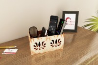 Home Sparkle 2 Compartments Engineered Wood Remote Cum Mobile Holder::Organizer (Multicolor)