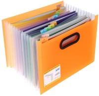 Solo 12 Compartments Polypropylene Plastic Desktop Expanding Document Organizer (Frosted Orange)