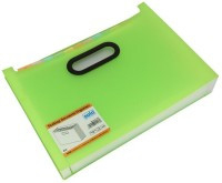 Solo 12 Compartments Polypropylene Plastic Desktop Expanding Document Organiser (Frosted Green)