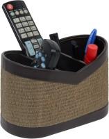 Belmun Jute Finish - Beige 3 Compartments Hard Board Remote Control Holder (Beige)