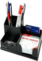 Deli Multi Functional 5 Compartments Plastic Pen Stand With Note Paper (Black)