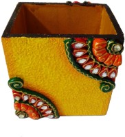 Artifa Meenakari Work 1 Compartments Wooden Handicraft Pen Stand (Yellow)