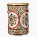 JaipurCrafts Decorative Floral - Embossed With Colorful Stones 1 Compartments Makrana Marble Pen Stand - Multicolor