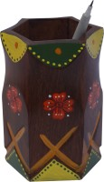 Art And Style 1 Compartments Wood Hand Painted Pen Stand (Multicolor)
