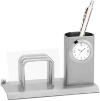 Excelencia Modern Office 2 Compartments Metal Table Clock With A Tumbler And Visiting Card Holder (Silver)