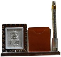 Prateek Exports PE1hcf565 1 Compartments Glass Mobile And Pen Stand (Silver)