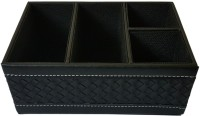 Dondonka 4 Compartments PU Leather, Board Desk Organizer (Black)