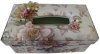 Valtellina Car Accessories 1 Compartments Plastic, Cotton, Frills, Beads Tissue Box (Pink)