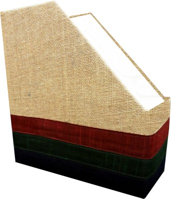 Indha Craft IC Recycled Paper 1 Compartments Card Board, Jute Magazine Holder - Multicolor