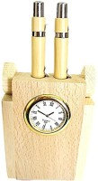 Muccasacra 0 Compartments Wood Twin Pen Stand With Clock (Beige)
