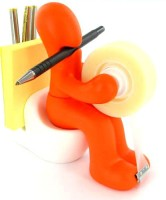 Its Our Studio Pen Holder 3 Compartments Plastic Desk Organizer (Orange)