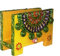 Seema's Craft Creation SCC 1 Compartments MDF Visiting Card/ Paper Napkin Holder (Yellow)