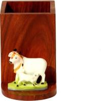 SR Crafts 1 Compartments Wooden, Fiber Pen Holder (Brown, Multicolour)