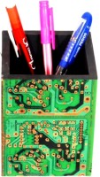 Aahum 1 Compartments Wood, Electric Circuit Board Pen Stand (Green)