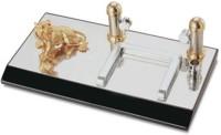 Magnuscadeaux BAS 2 Compartments Metal, Wooden Desk Organizer (Gold, Silver)