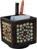 JaipurCrafts Silver Flower 1 Compartments Wood Desk Organizer (Brown)