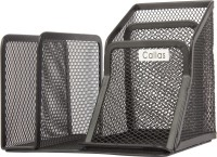 Callas 5 Compartments Mesh Metal Letter Pen Holder (Black)