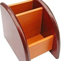 Desi Karigar 2 Compartments Wooden Mobile & Pen Holder (Brown)
