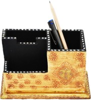 Artlivo Desk Organizer 3 Compartments Wood Pen Stand (Ivory, Golden)
