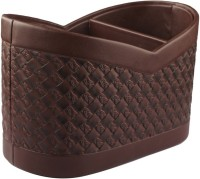 Belmun Woven Pattern - Brown 3 Compartments Hard Board Remote Control Holder (Brown)