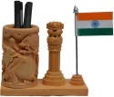 ECraftIndia National Flag 1 Compartments Wooden Pen Stand - Brown, Orange, White, Green