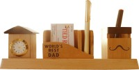Tiedribbons Gift For World Best Dad 3 Compartments Wooden Pen Stand (Wooden Color)