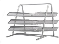 Priya Exports Office Stationary 3 Compartments Stainless Steel Document Tray (Silver)