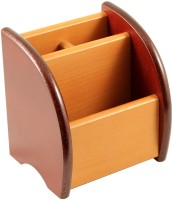 RadiusIn YS 3 Compartments Wooden Pen Stand (Brown)