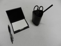Y.E.S 1 Compartments Foam Leather Pen Holder With Paper Slip Box (Black)