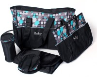 Baby Bucket 5pcs/set Baby Diaper Bag Purse (Black)