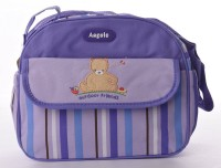 Baby Bucket Round Multiplicity Cute Bear Embroidered Diaper Bag Purse (Purple)