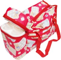 Ole Baby Premium Multi Purpose Teddy Bear Print With Warmer Tote Diaper Bag (Red)