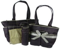 Baby Bucket Carters 4 Piece Diaper Bag Set - Black & Sage Purse (Black & Sage)