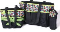 Baby Bucket Nappy Mummy Bag Doted Maternity Handbag Changing Baby Colorland 5pcs/set Diaper Bag (Black)