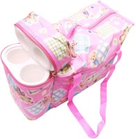 Babyofjoy Teddy Print Tote Diaper Bag And Bottle Warmer Attached (Pink)